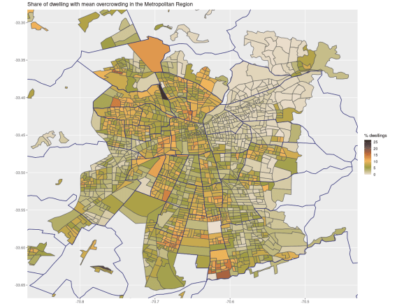 Map of the Metropolitan Region showing polygons representing neighbourhoods and coloured by the degree of overcrowding