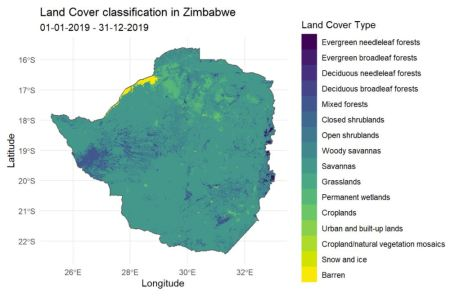 A map of Zimbabwe with its area colored by the corresponding land cover type - such as grasslands, croplands, barren etc.