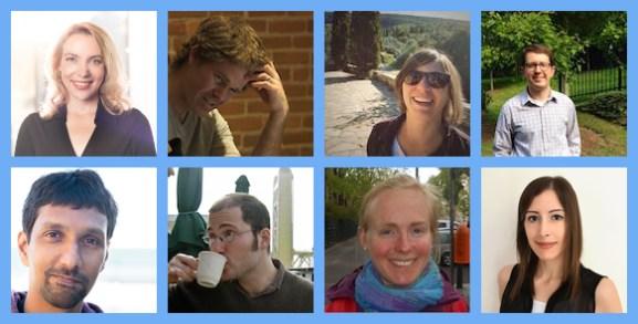 Editorial team. From left to right and top to bottom: Brooke Anderson, Scott Chamberlain, Anna Krystalli, Lincoln Mullen, Karthik Ram, Noam Ross, Maëlle Salmon, Melina Vidoni.