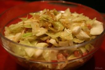 Kartoffel-Stierum und warmer Krautsalat und Speck - Die Blütensammlerin
