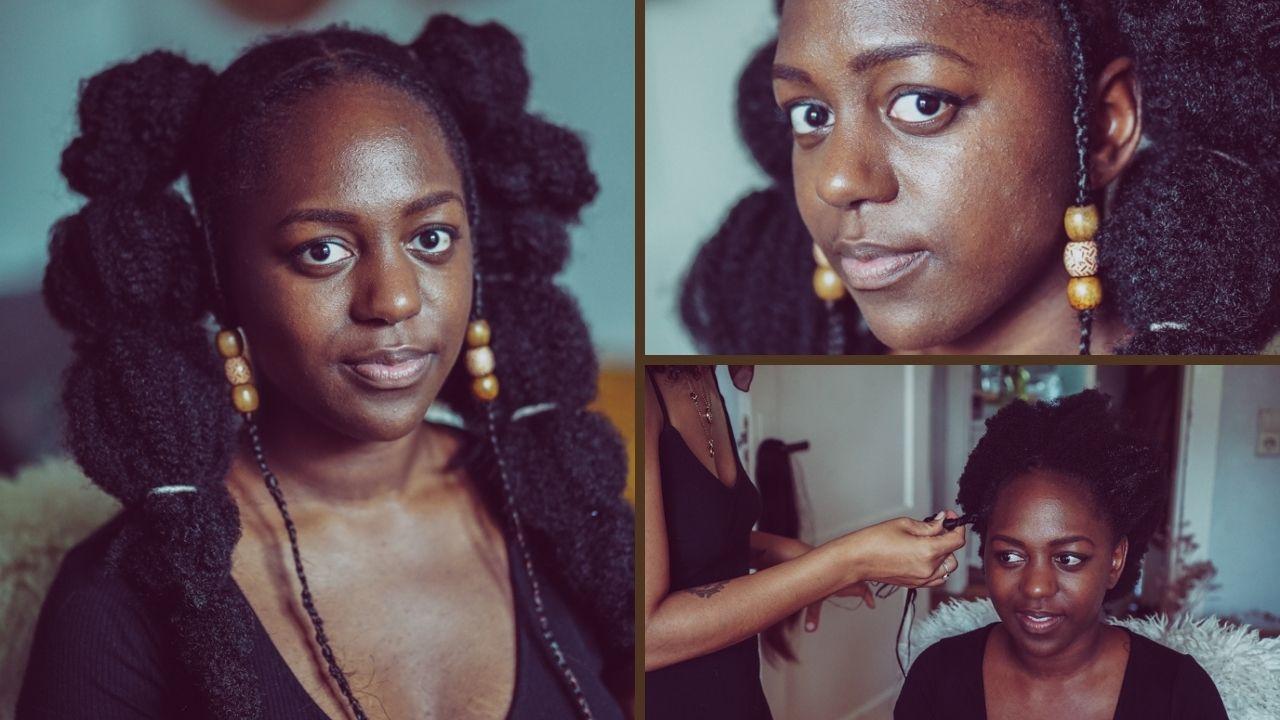 Pinterest Styles nachgemacht: Cornrow-Puff-Braid-Haar-Look für 4C-Hair