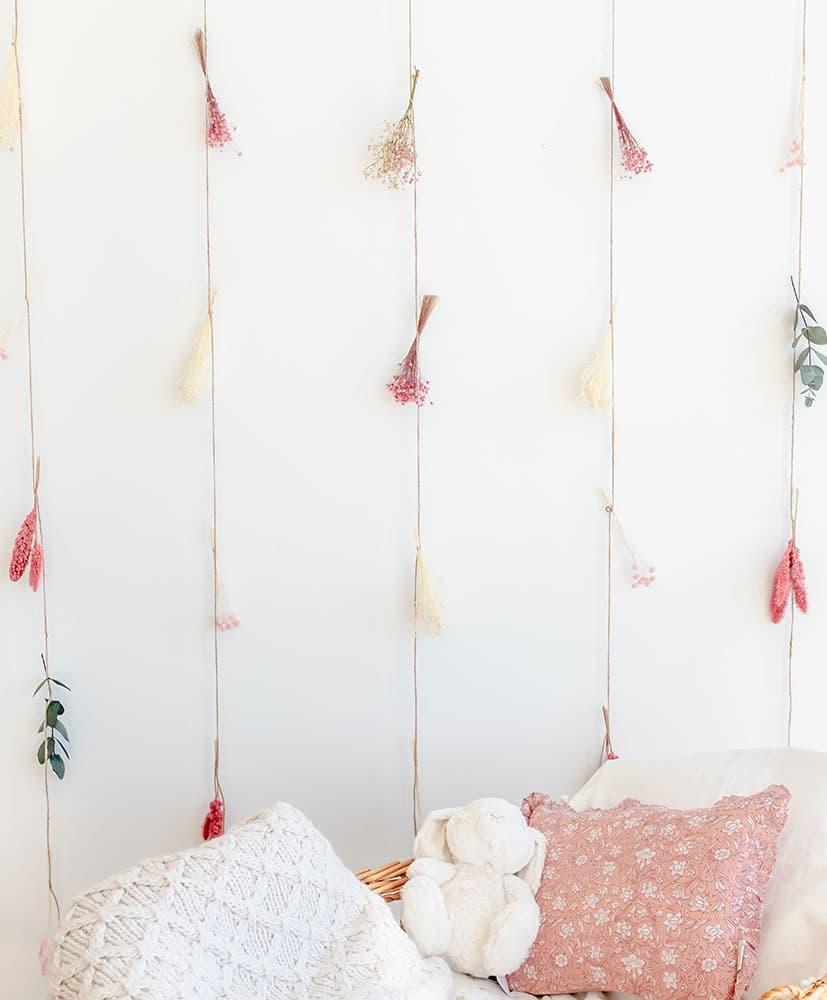 rideau de fleurs sechees chamallow