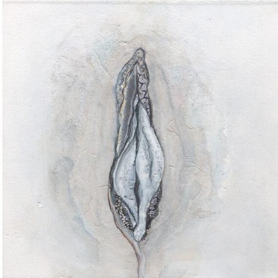 vagina-art, vulva-art, feminist, female-anatomy, mixed media, painting, illustration, feminist art
