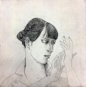 MarcelleHanselaar, Palm-Reading, Sketch, Drawing, Hands, Works-on-paper, etching, monochrome, portrait, self-portrait