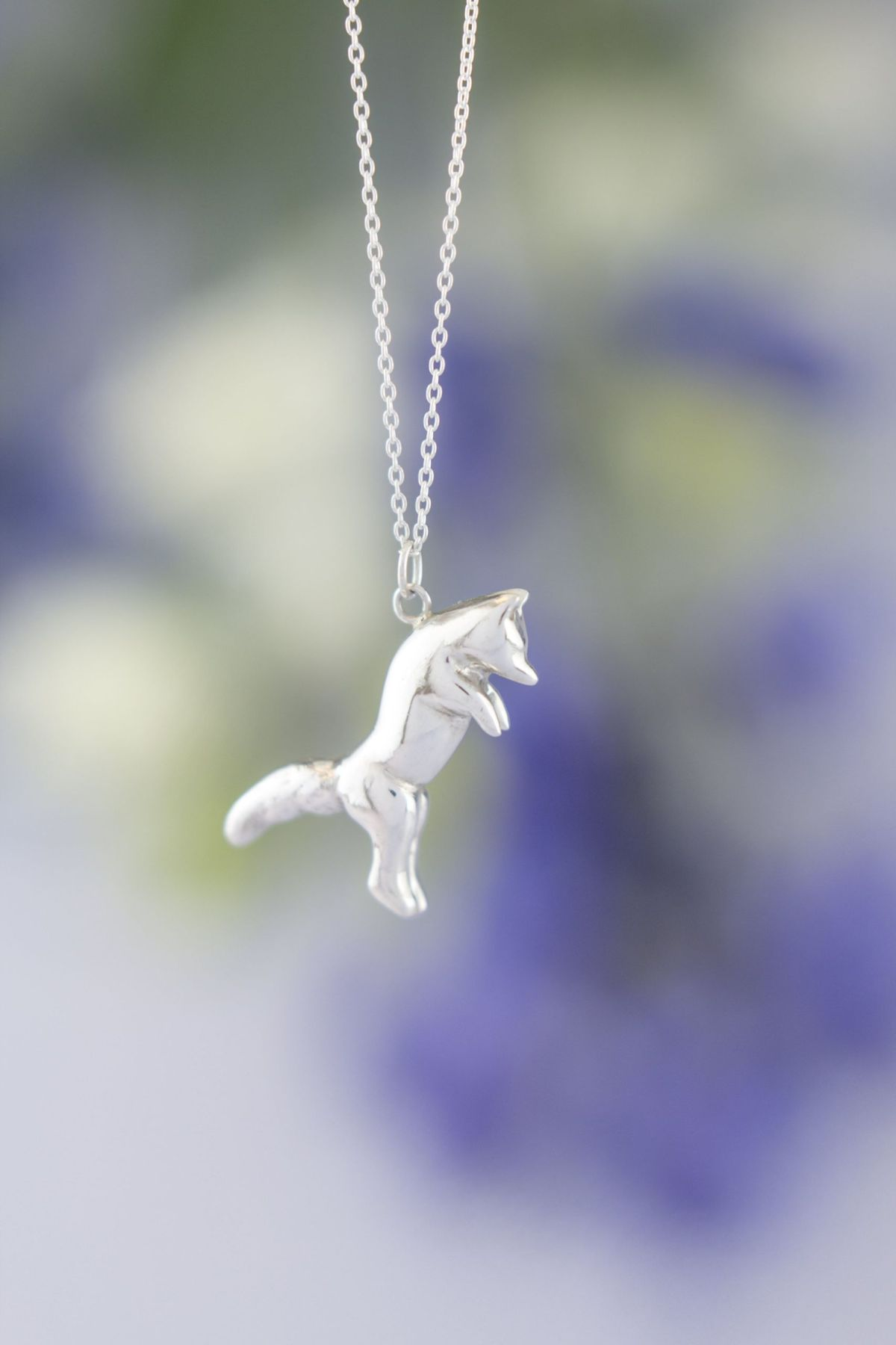 Pouncing fox necklace silver