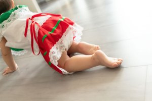 One Year Cake Smash Baby Girl Crawling Mexican Dress