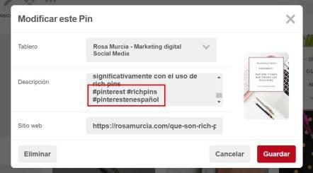 editar pines con hashtags