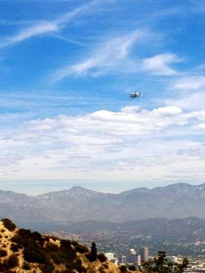 shuttle flying over Los Angles. Photo credit Trudy