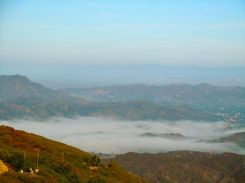 At 8a.m the fog hangs in the valley