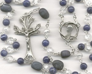 Sodalite, Glass & Dumortierite Rosary