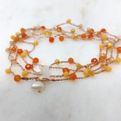 Cavigliera Pietre arancio e perle Rosa Rosa Bijoux