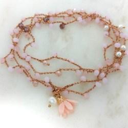 Cavigliera Quarzo rosa e perle Rosa Rosa Bijoux