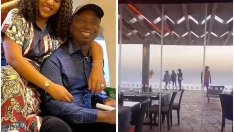 My hubby and women are 5 & 6 – Regina Daniels says as she shares video of her husband, Ned Nwoko talking to women at a beach (video)