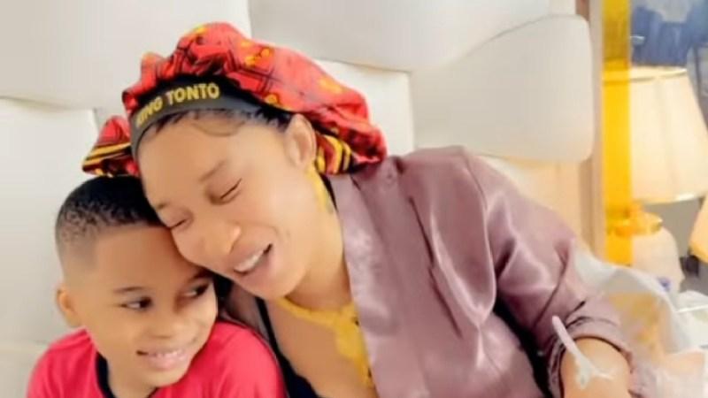 """""""I'm a lion"""" – Tonto Dikeh tells son (video)"""