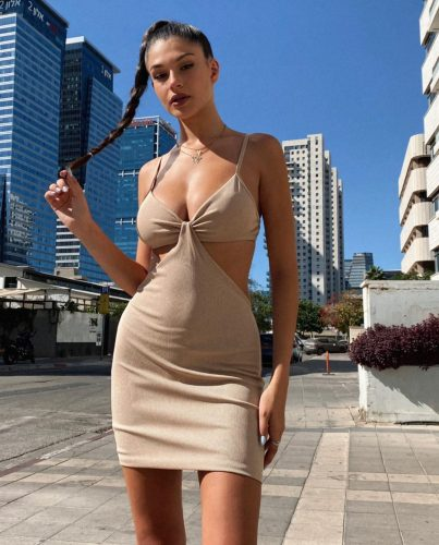 cutout body-con dress beige