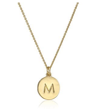 Gold M necklace for mothers day
