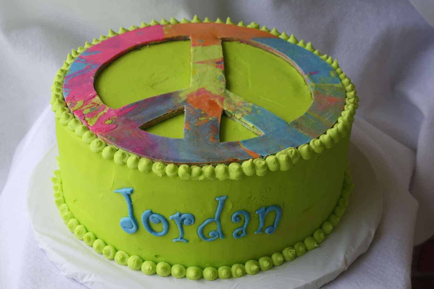 Peace Sign Tie Dyed Birthday Cake With Tutorial