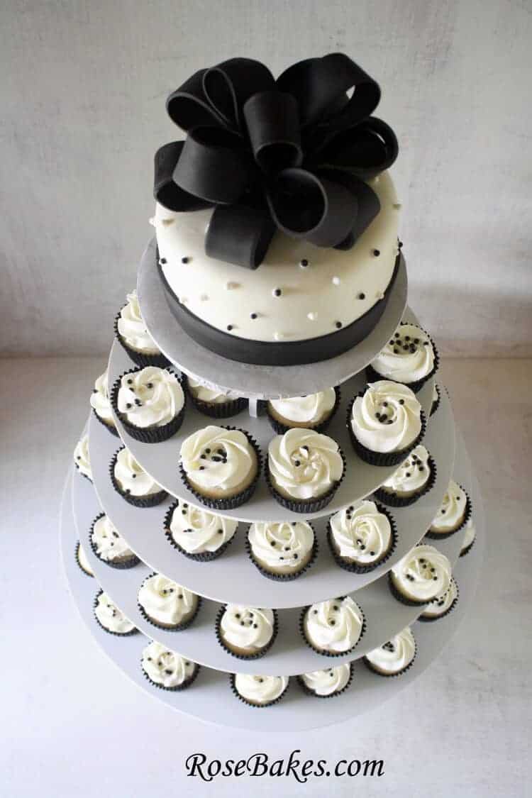 Black Amp White Wedding Cake And Cupcake Tower