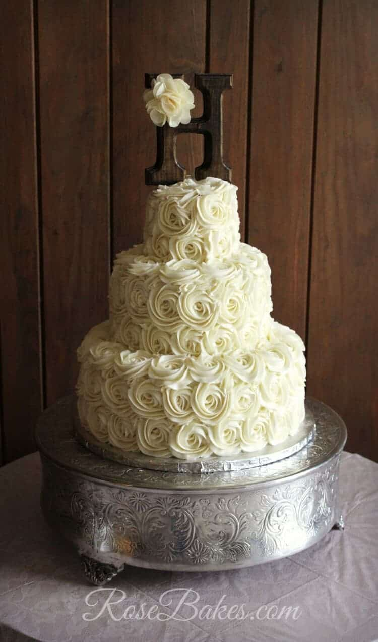 Rustic Buttercream Roses Wedding Cake   Rose Bakes Rustic Buttercream Roses Wedding Cakae