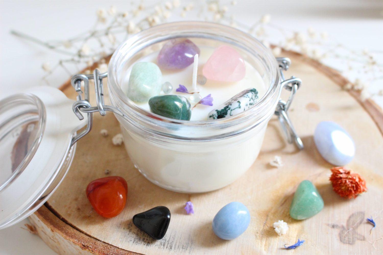 bougie naturelle pierre et fragrance aux choix