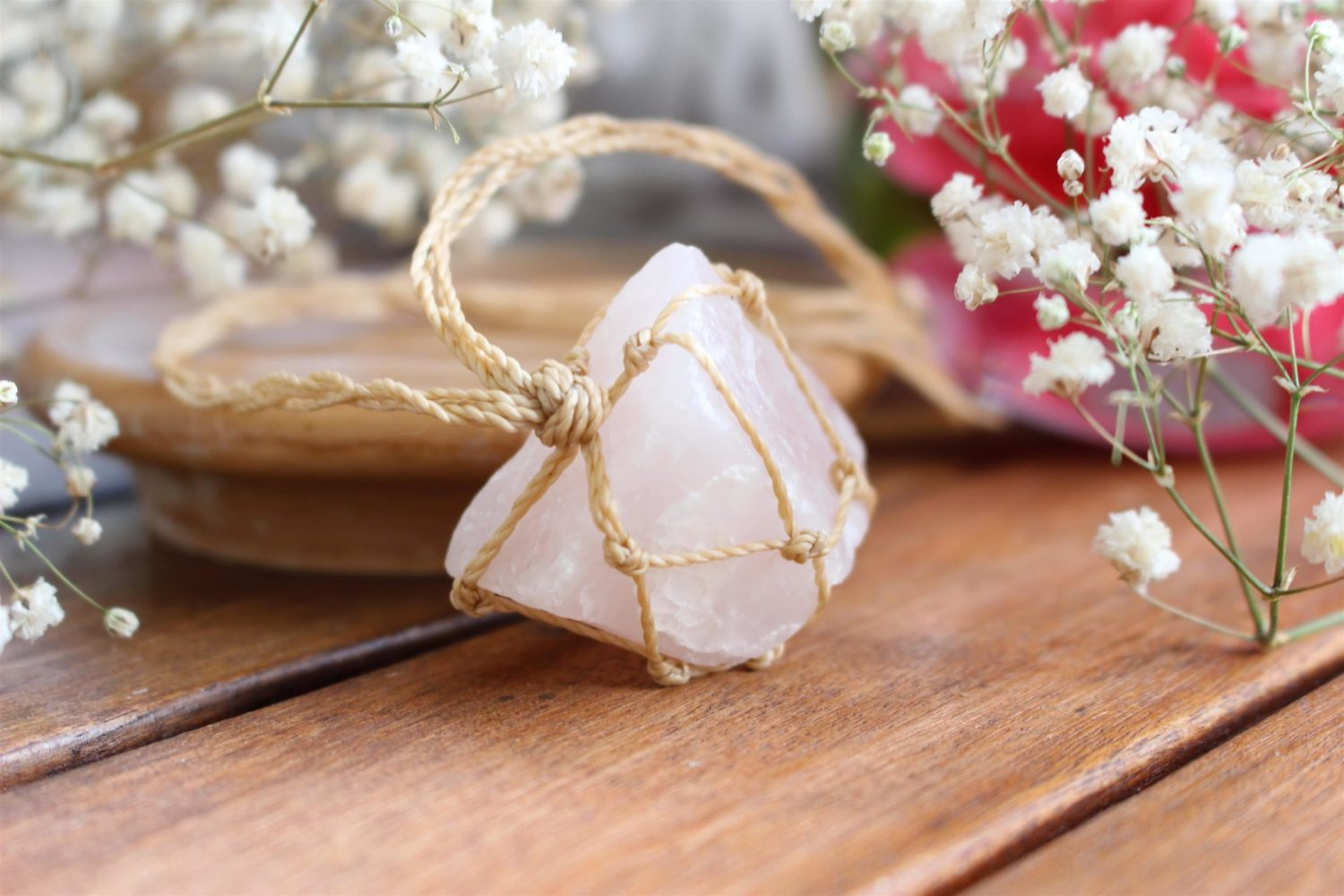 "Collier ""Amour"" en Quartz Rose brut Bloom"