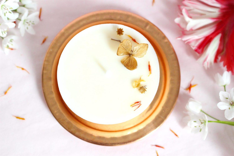 Bougie Votive fleurie végétale bio Dulce Caramel