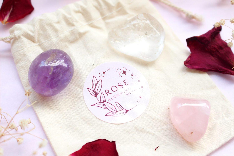 """Kit """"Triangle d'Or"""" : Améthyste, Cristal de Roche, Quartz Rose"""