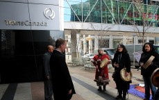 TransCanada representatives meet with indigenous activists on the steps of their head office in Calgary, AB.
