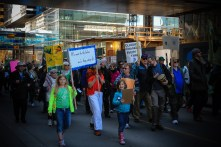 children in Calgary leading the climate action march. April 26-2015