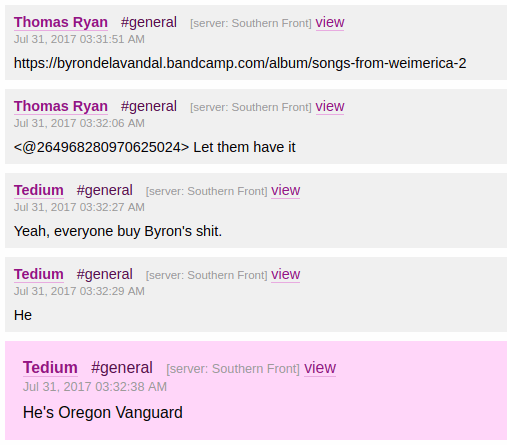 Evan McCarty is identified as a member of Vanguard Oregon in a Nazi web forum