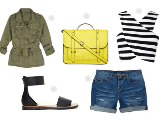 great looks under $50, cheap fashion, great style under $50,crop top, yellow satchel, jean shorts under $50