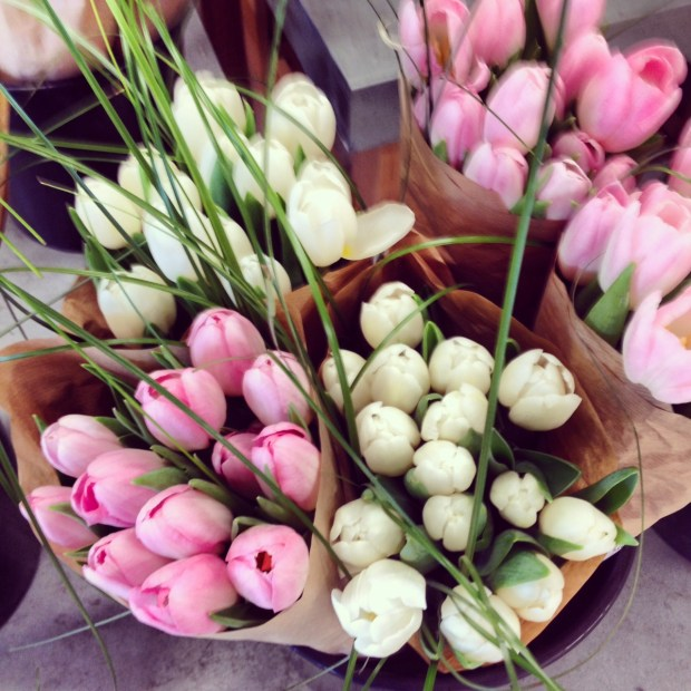 fresh flowers, market flowers, fresh flowers in parchment, tulips, pink tulips, white tulips, zerhs
