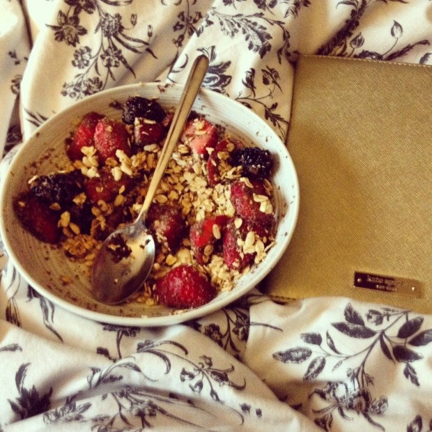 breakfast, oatmeal and fruit, ikea duvet cover, kate spade ipad case