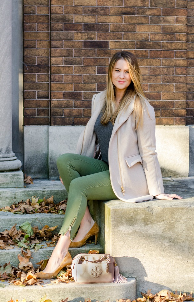fall-outfot-of-the-day-fashion-blog-style-jcrew-coat-tory-burch-purse-army-green-pants-look-outfit-ideas-canadian-lifestyle
