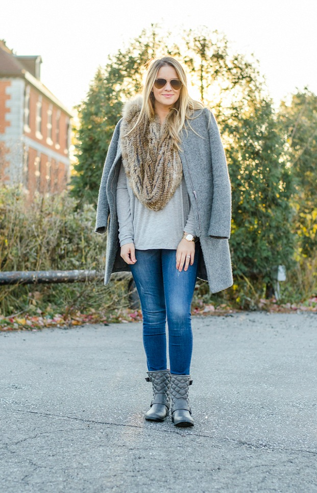 rose-city-style-guide-canadian-fashion-blog-fur-scarf-fur-accessories-grey-wool-coat-ripped-jeans-grey-moto-boots