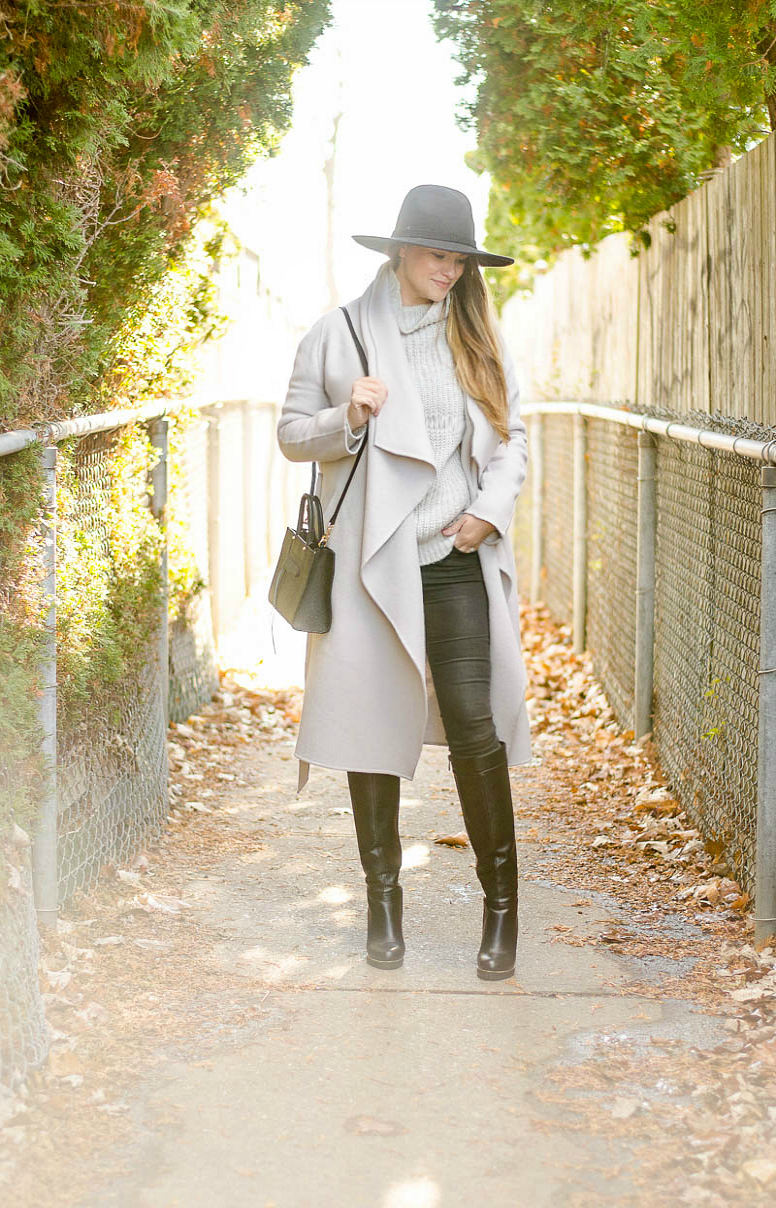 rosecitystyleguide-grey-wrap-coat-black-fedora-knew-high-boots-fall-outfit