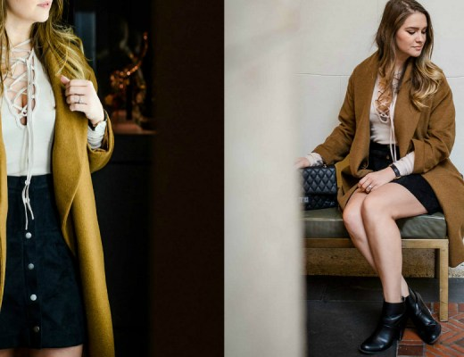 DIA-Detroit-free-people-lace-up-top-button-front-skirt-rosecitystyleguide-camel-wrap-coat-