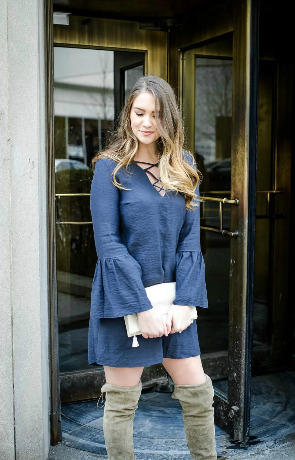 Detroit-public-library-lace-up-dress-bell-sleeves-over-the-knee-boots-rosecitystyleguide