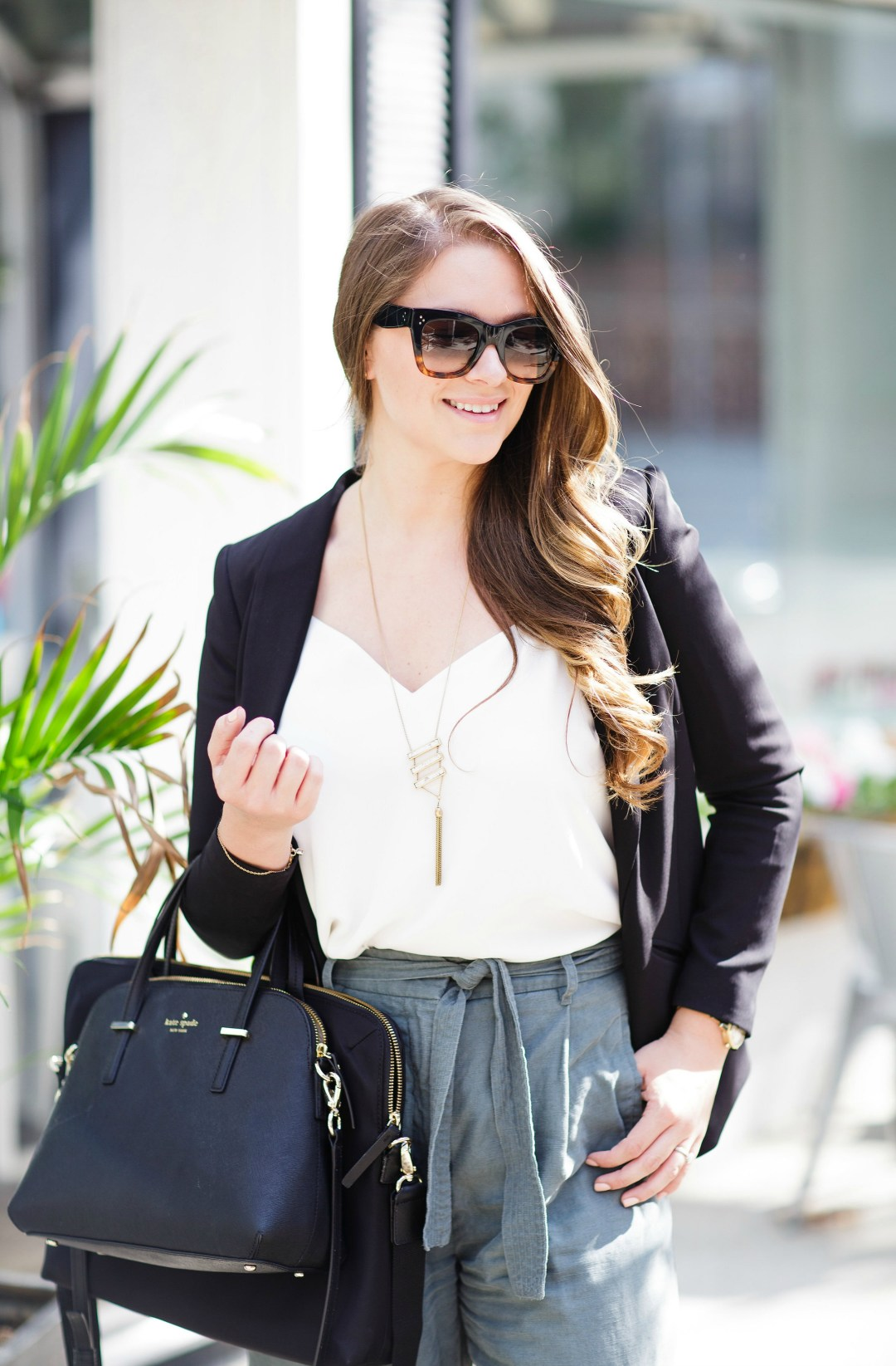 working-girl-office-outfit-wide-leg-pants-black-blazer-celine-sunglasses-kate-spade-laptop-bag-rosecitystyleguide-canadian-blogger-15