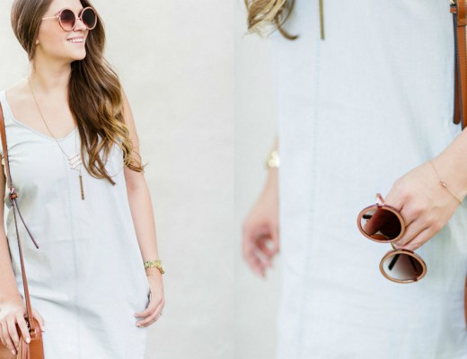 fashion blogger chambray dress