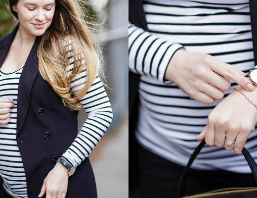 pregnacy-fashion-maternity-style-outfit-rose-city-style-guide-striped-top-black-long-vest-black-loafers-fall