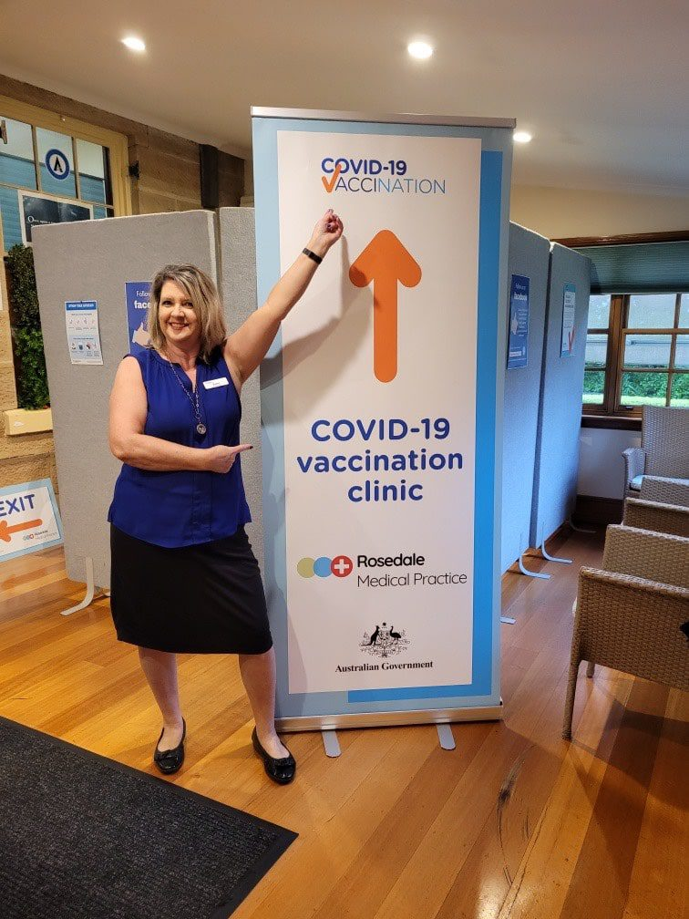 Our receptionist Karyn welcoming our patients for the COVID-19 vaccine