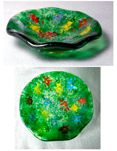 "MEADOW BLOOMS 5"" fluted bowl using glass powders (frit)."