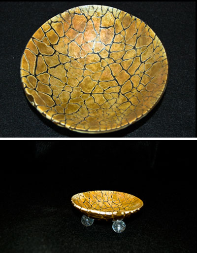"SHIFTING SANDS 5"" footed bowl with crackle design."