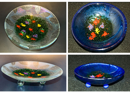 "SPRING IMPRESSIONS 10"" and 5"" iridized glass bowls with glass powder designs and sand carved undersides."