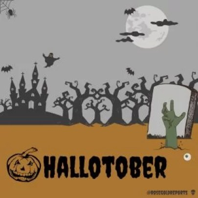 a cartoon picture of a tombstone with a green hand breaking through the soil and an eyeball resting on top of the soil. In the background are a haunted house, gnarled trees, a ghost, bats, a spider's web and a full moon. In the foreground is the word hallotober in a horror type font and a scary lookng pumpkin.