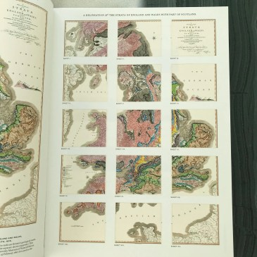 A page from inside the book showing the full series of William Smith geological maps of England, Wales and part of Scotland.