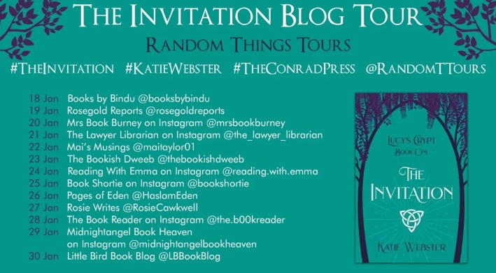 A blog tour poster showing the book and all the bloggers on the tour