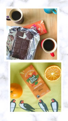 Two photographs laid on a white marble background. Top photograph shows cups of espresso and an open bar of drak seed and bean chocolate. Bottom photograph shows a bar of orange and thyme seed and bean chocolate lying on a yellow tea towel surrounded by oranges