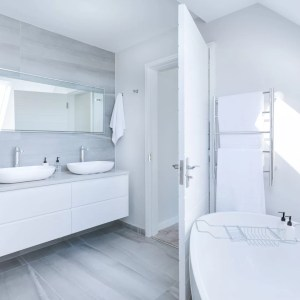 a white and grey coloured bathroom showing double sinks with a mirror above and a freestanding bath